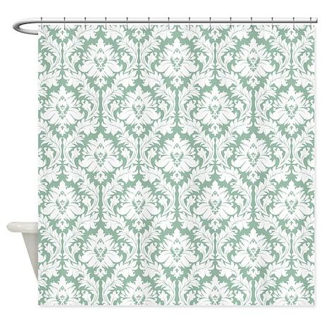 Jade Green Damask Shower Curtain