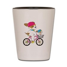 Cute Puppy on Bike Shot Glass