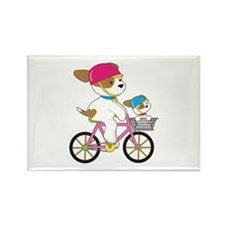 Cute Puppy on Bike Rectangle Magnet