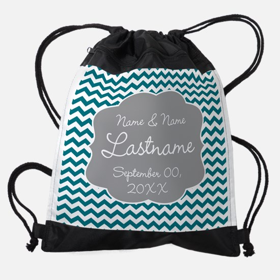 Wedding or Anniversary Chevrons Drawstring Bag