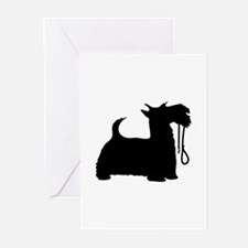Scotty Dog and Leash Greeting Cards (Pk of 10)