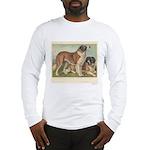 St Bernard Dogs Antique Print Long Sleeve T-Shirt