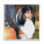 Autumn Sheltie Tile Coaster