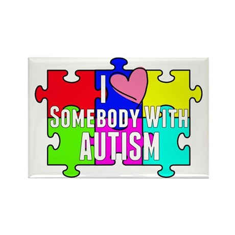 I Heart (love) Somebody With Autism Rectangle Magn