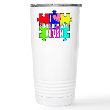 I Heart (love) Somebody With Autism Travel Mug