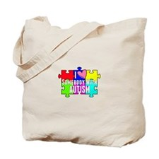 I Heart (love) Somebody With Autism Tote Bag