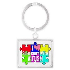 I Heart (love) Somebody With Autism Keychains