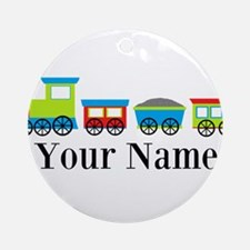 Personalizable Train Cartoon Ornament (Round)