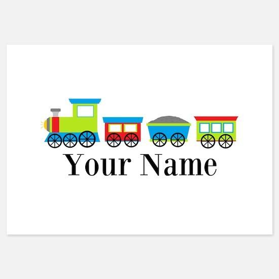 Personalizable Train Cartoon Flat Cards