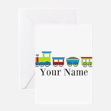 Personalizable Train Cartoon Greeting Card