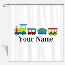 Personalizable Train Cartoon Shower Curtain