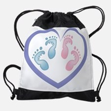 Boy / Girl Twins Footprints Drawstring Bag