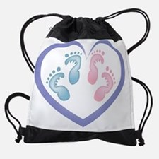 Boy / Girl Twins Footprints Drawstring Bag