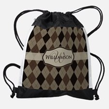 Brown Argyle Monogram Name Drawstring Bag