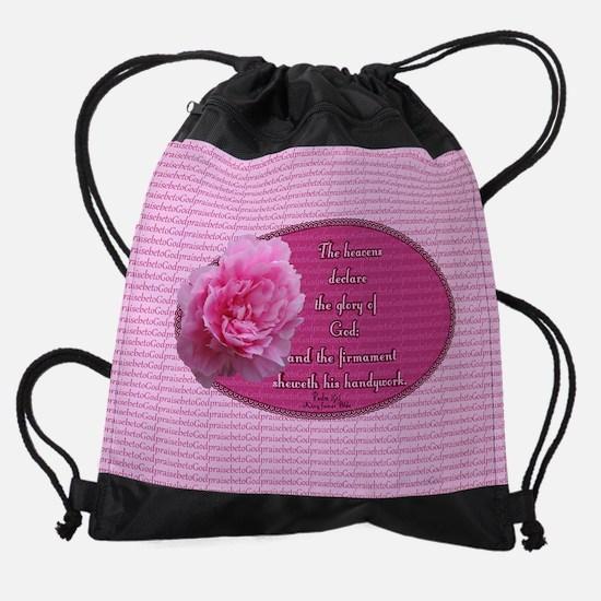 Psalm 19 1 Peony Drawstring Bag
