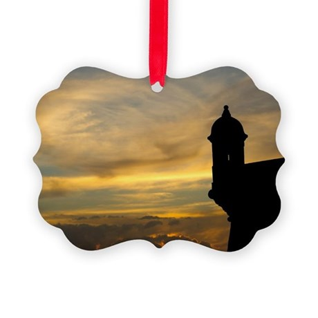 El Morro sentry box in Old San Ju Picture Ornament