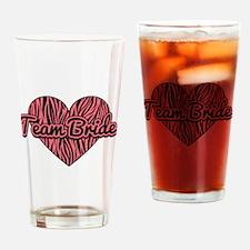 Zebra Print Heart Team Bride Drinking Glass