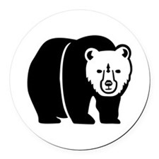 Black Bear Round Car Magnet