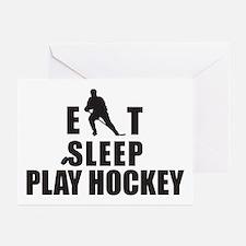 Eat Sleep Play Hockey Greeting Cards (Pk of 10)