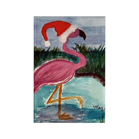 Santa Flamingo Rectangle Magnet