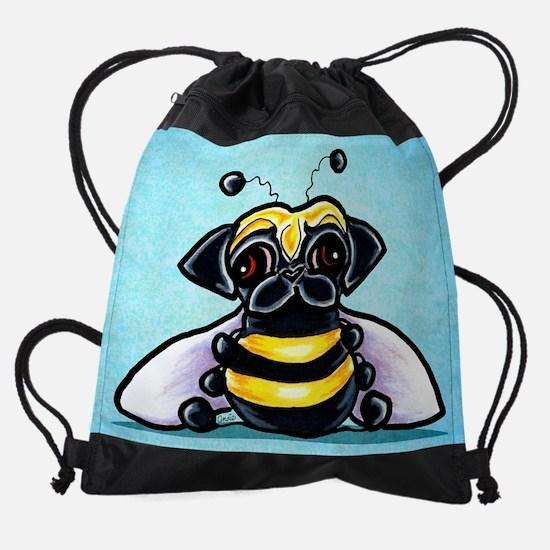 Pug as Bee Blue Drawstring Bag