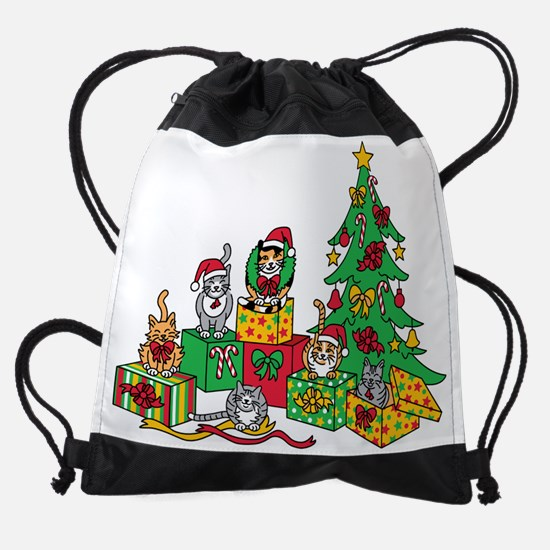 Christmas Cats Drawstring Bag