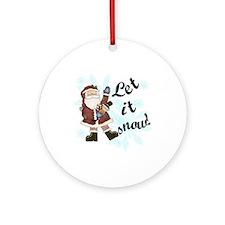Santa Let it Snow Ornament (Round)