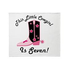 Cowgirl 7th Birthday Throw Blanket