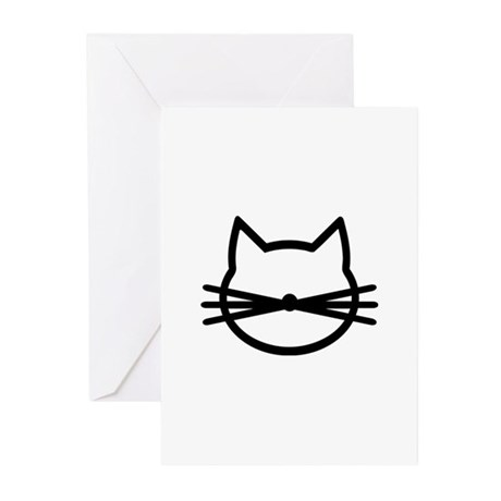 Cat head face Greeting Cards (Pk of 10)