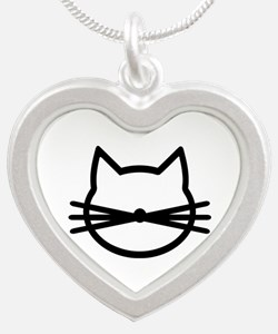 Cat head face Silver Heart Necklace