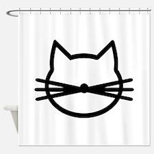 Cat head face Shower Curtain