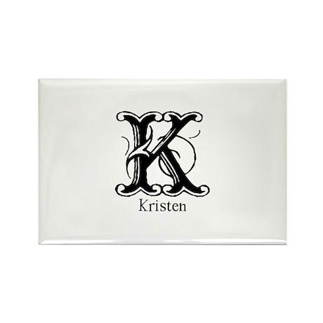 Kristen: Fancy Monogram Rectangle Magnet (10 pack)