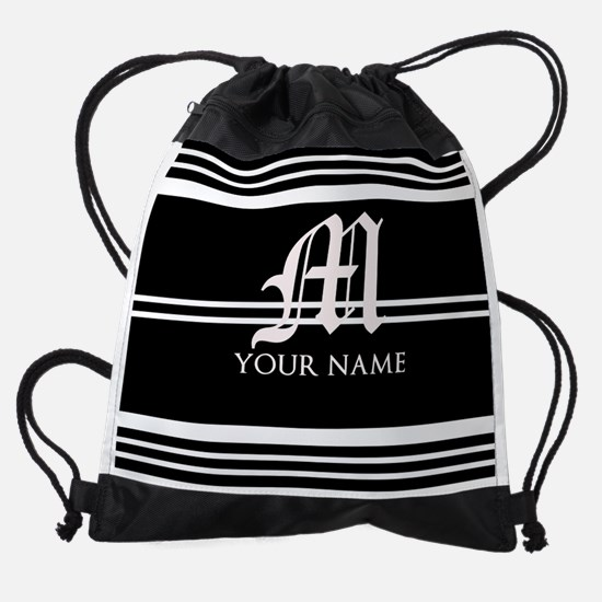 Black and White Stripe Monogram Drawstring Bag