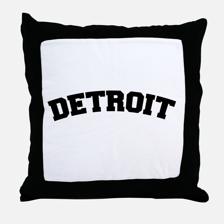 Detroit Black Throw Pillow