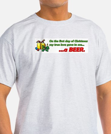 12 Days of Christmas Beer 2 Sided Ash Grey T-Shirt