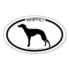 """""""Whippet"""" White Oval Bumper Stickers"""