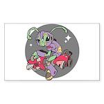 Alien on Hovercraft Rectangle Sticker