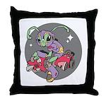 Alien on Hovercraft Throw Pillow
