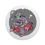 Alien on Hovercraft Ornament (Round)