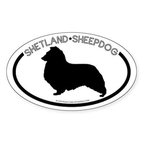 """Shetland Sheepdog"" White Oval Sticker"