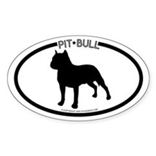 """Pit Bull"" White Oval Decal"