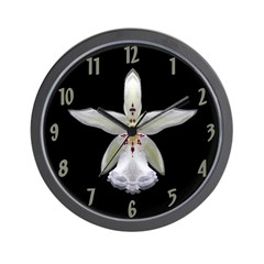 White (den) Orchid Wall Clock