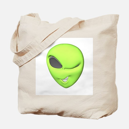 Funny Winking Alien Tote Bag