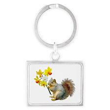 Squirrel Daffodils Landscape Keychain