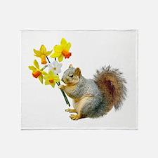 Squirrel Daffodils Throw Blanket