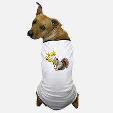 Squirrel Daffodils Dog T-Shirt