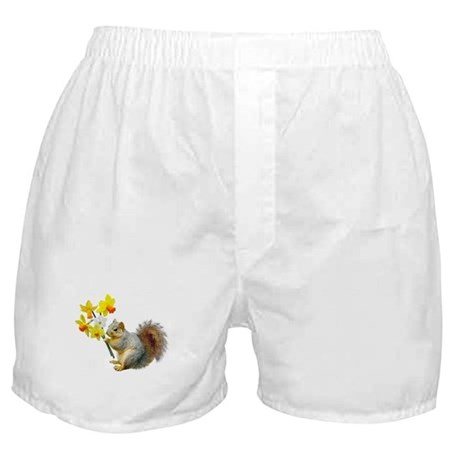 Squirrel Daffodils Boxer Shorts