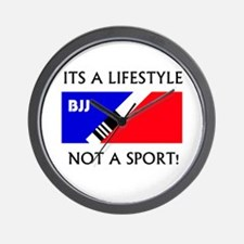 BJJ lifestyle black lettering Wall Clock