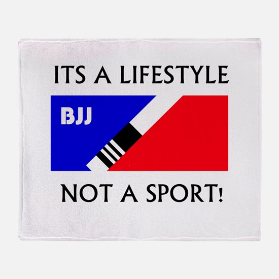 BJJ lifestyle black lettering Throw Blanket