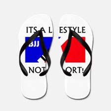 BJJ lifestyle black lettering Flip Flops